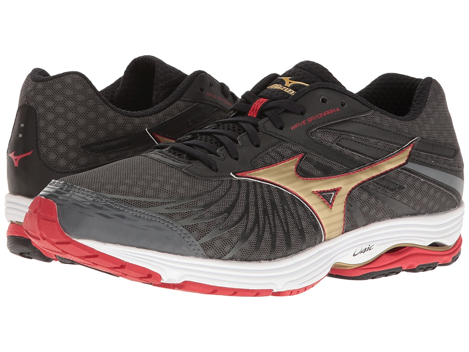 Mizuno - Wave Sayonara 4 (Dark Shadow/Gold/Chinese Red) Men's Running Shoes
