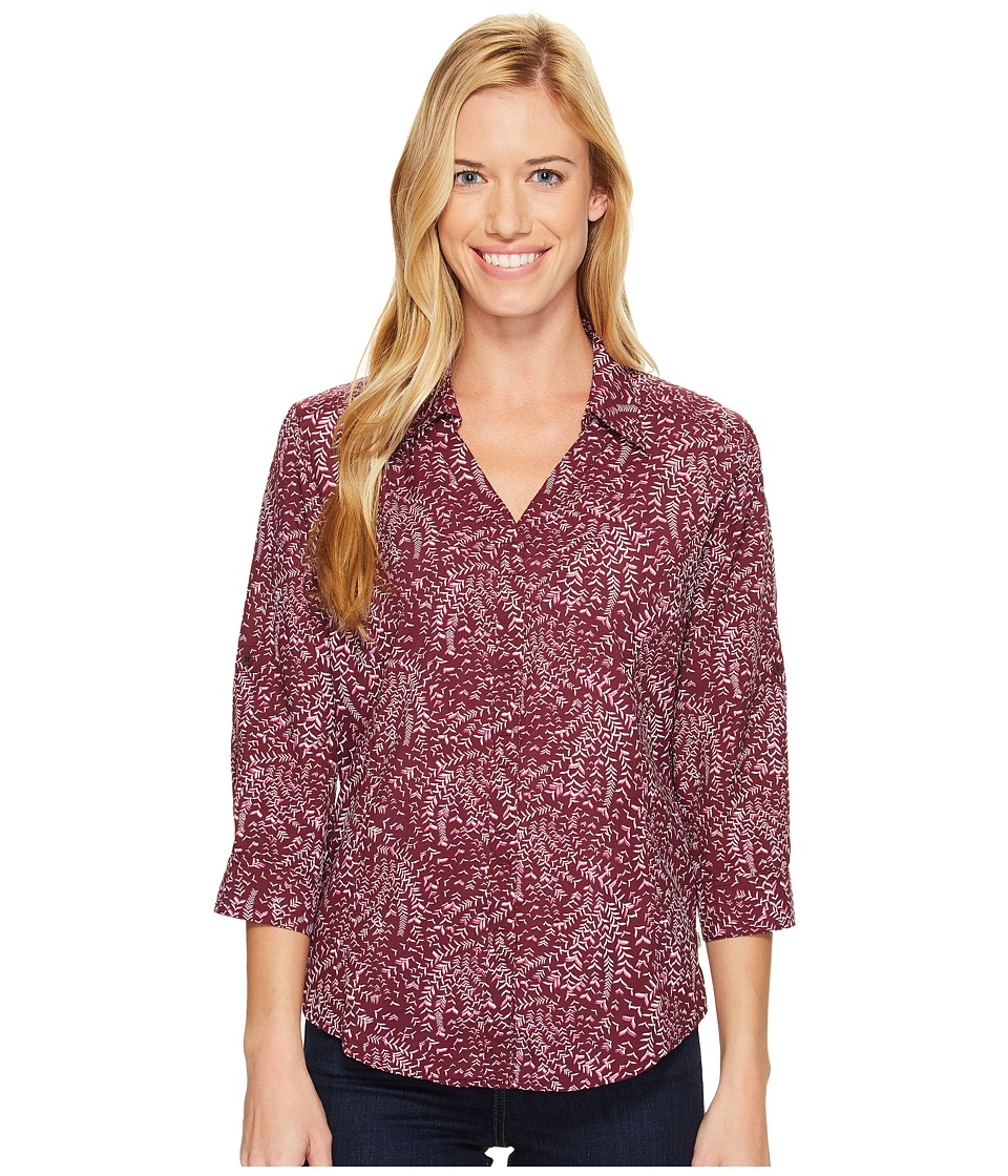 Royal Robbins - Expedition Chill Stretch Sky Print 3/4 Sleeve Top (Plum Wine) Women's Long Sleeve Button Up