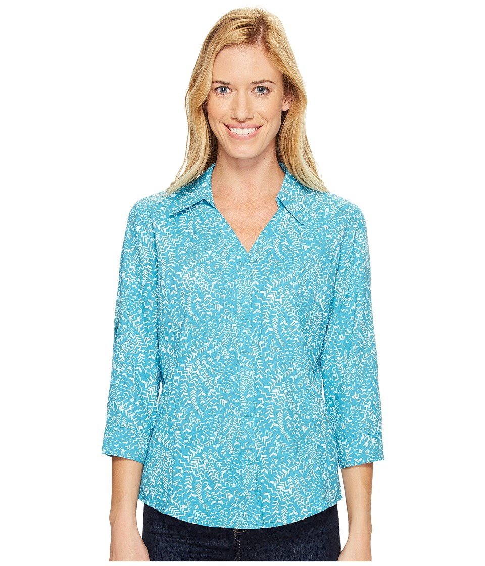 Royal Robbins - Expedition Chill Stretch Sky Print 3/4 Sleeve Top (Reservoir) Women's Long Sleeve Button Up