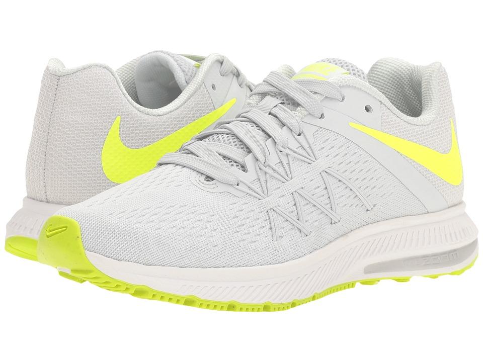 Nike - Zoom Winflo 3 (Pure Platinum/Volt/White/White) Women's Running Shoes
