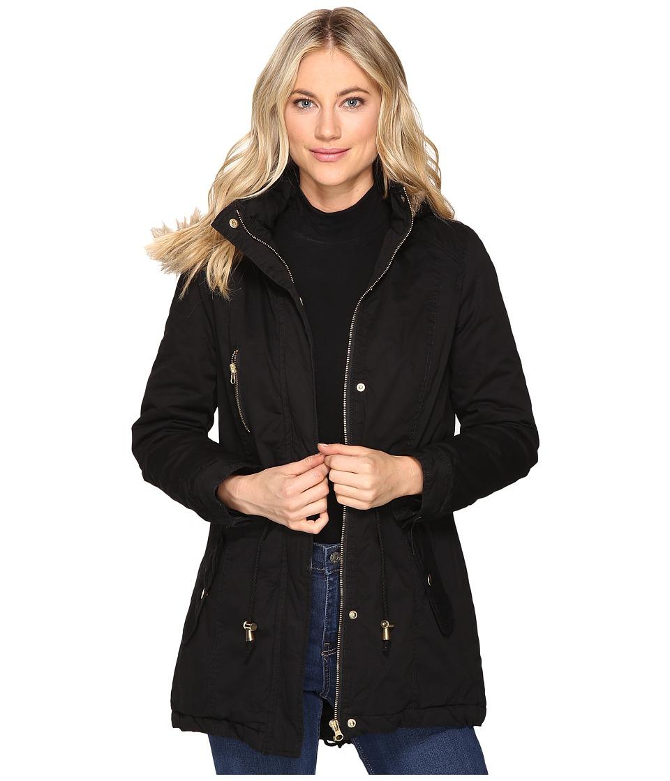 Brigitte Bailey - Patience Polyfilled Jacket w/ Faux Fur Hood (Black) Women's Coat