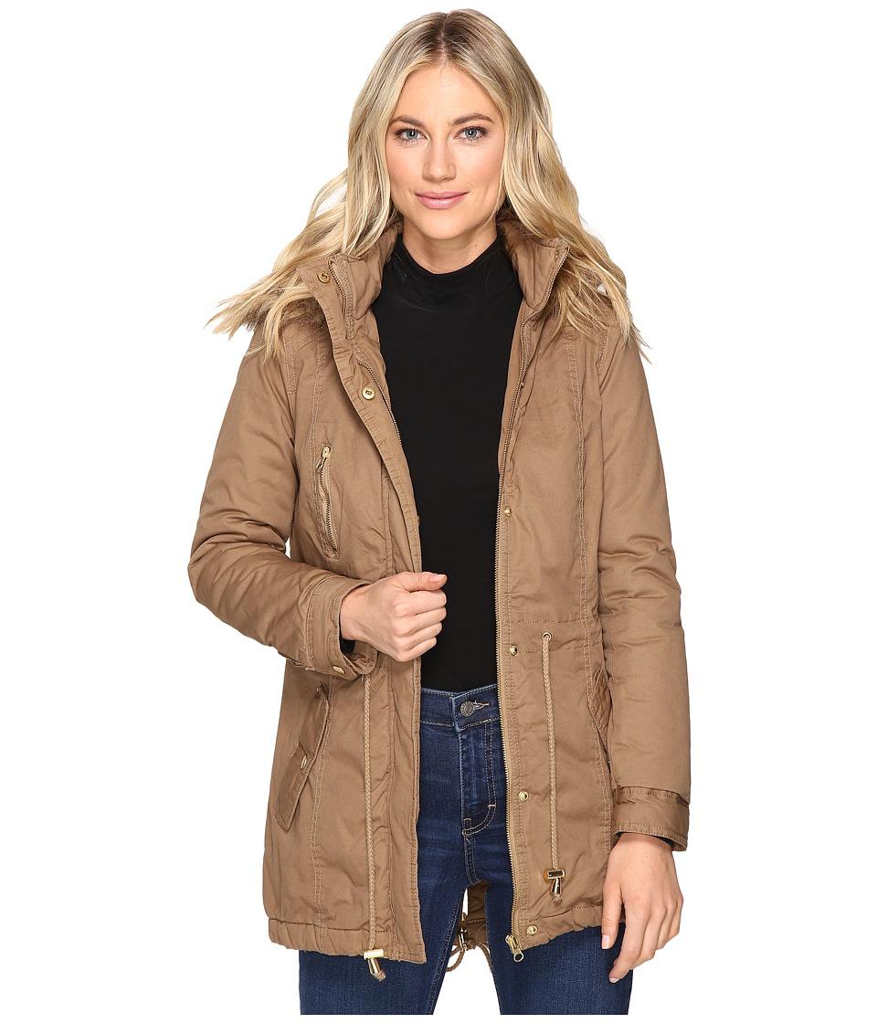 Brigitte Bailey - Patience Polyfilled Jacket w/ Faux Fur Hood (Tan) Women's Coat