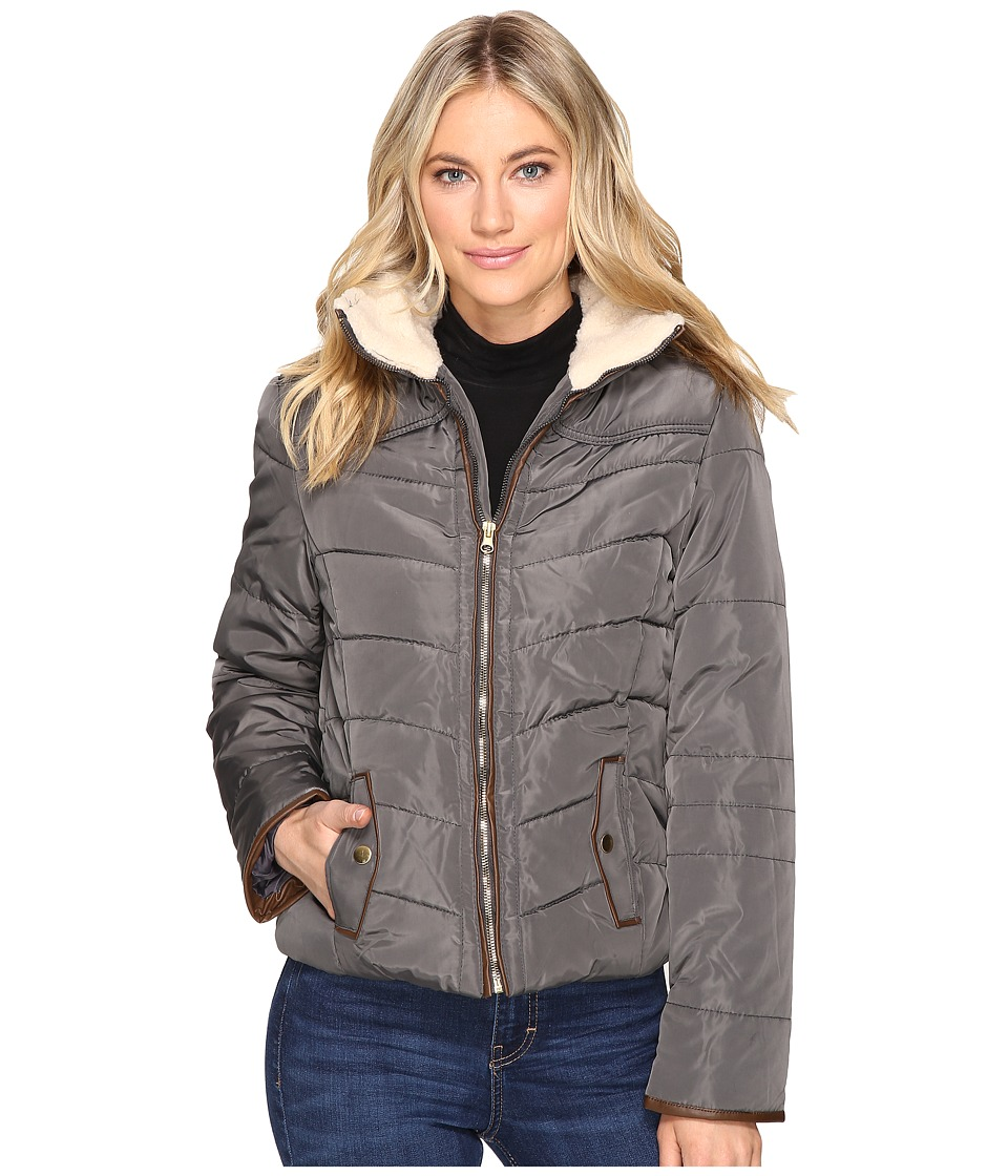 Brigitte Bailey - Solo Jacket w/ Sherpa Lined Collar (Charcoal) Women's Coat