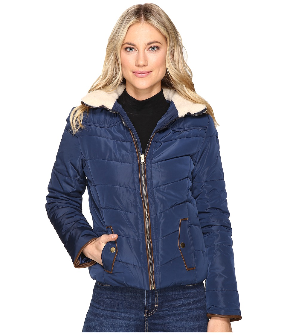 Brigitte Bailey - Solo Jacket w/ Sherpa Lined Collar (Navy) Women's Coat