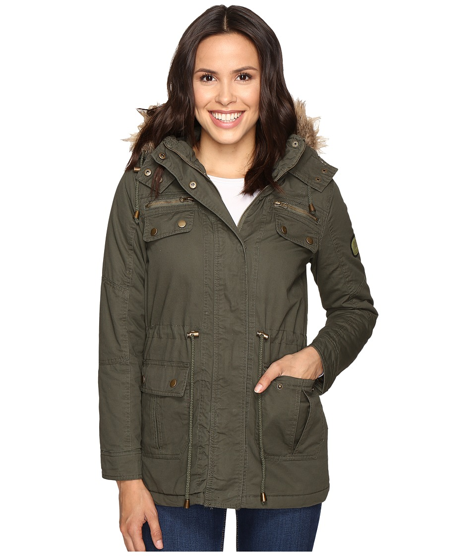 Brigitte Bailey - Primero Long Jacket w/ Detachable Faux Fur (Olive) Women's Coat