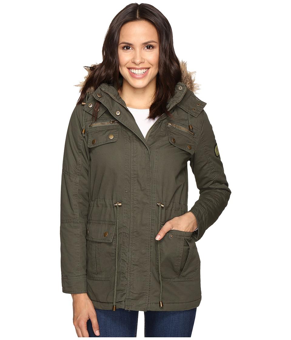 Brigitte Bailey - Primero Long Jacket w/ Detachable Faux Fur (Olive) Women's Coat