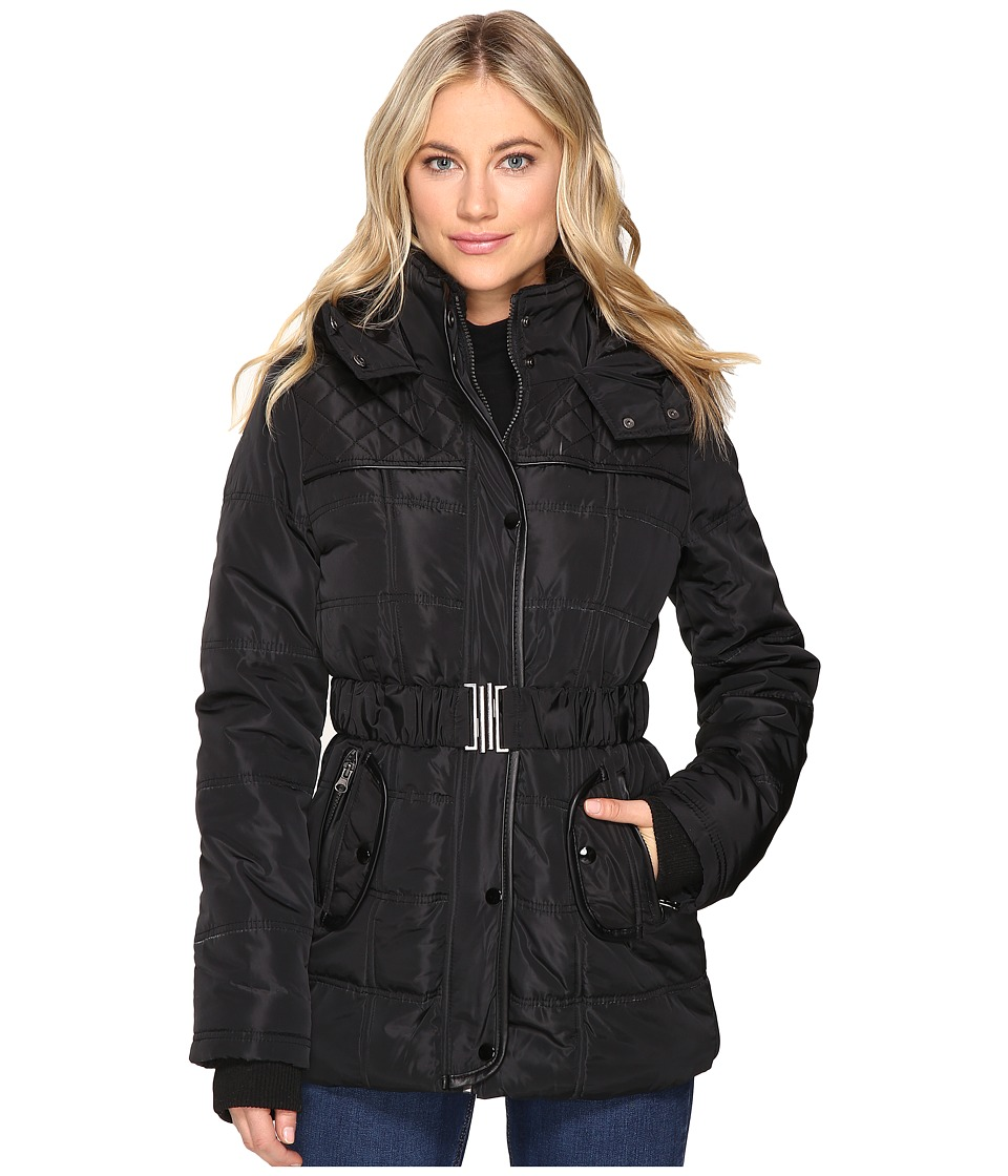 Brigitte Bailey - Five Card Stud Belted Jacket (Black) Women's Coat