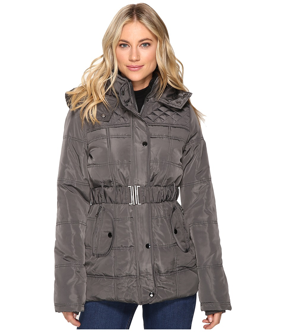 Brigitte Bailey - Five Card Stud Belted Jacket (Charcoal) Women's Coat