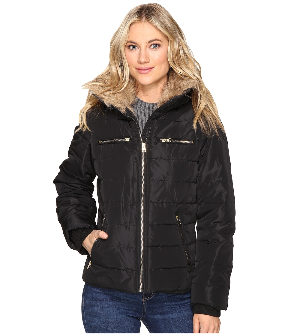 Brigitte Bailey - Solitaire Jacket w/ Faux Fur (Black) Women's Coat
