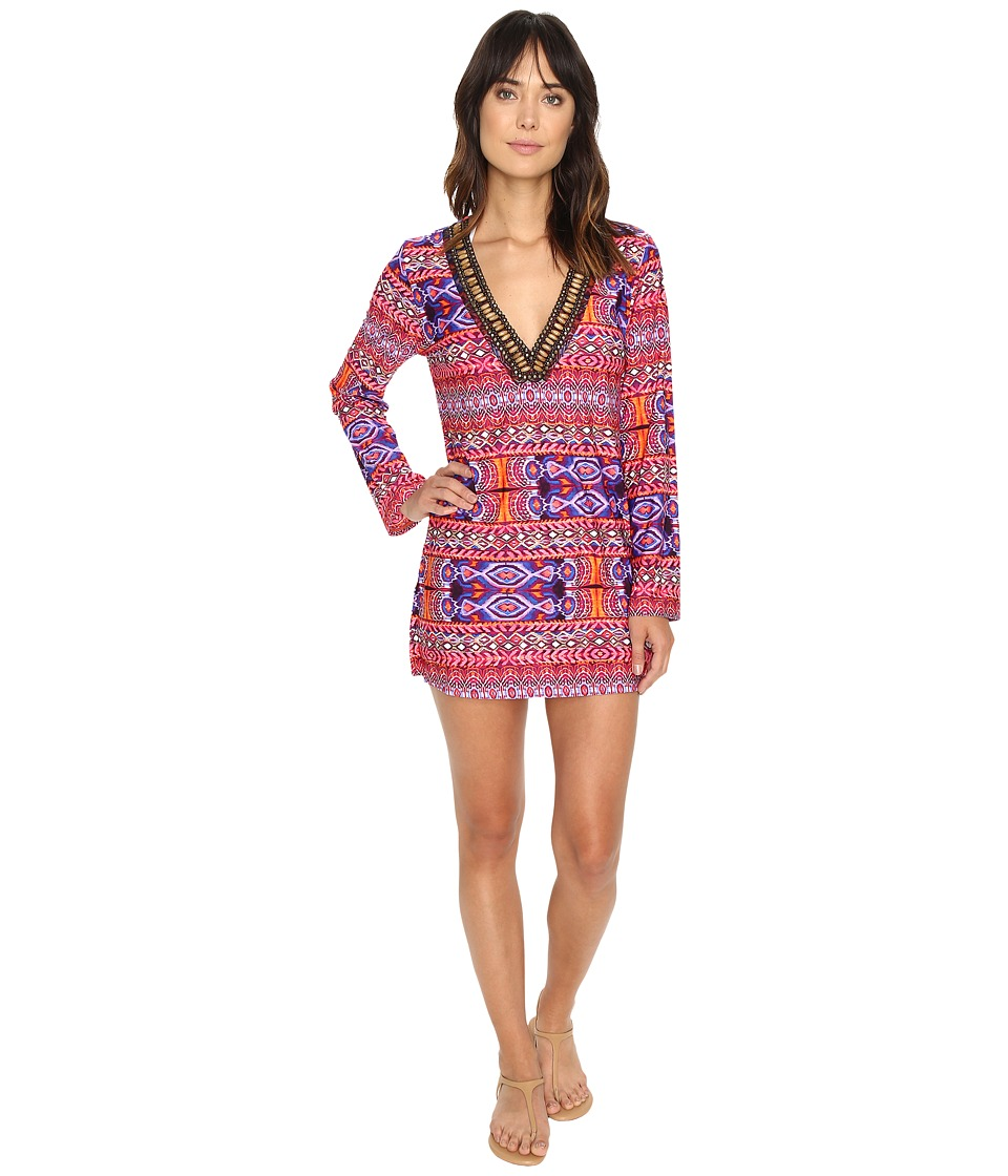 La Blanca Global Perspective V-Neck Tunic Cover-Up (Watermelon) Women