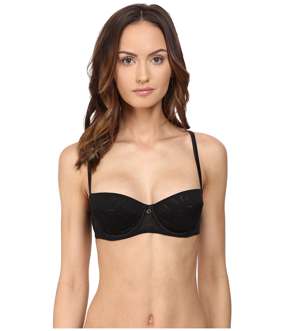 Emporio Armani - Sexy Satin and Lace Not Padded Balconette Bra (Black) Women's Bra