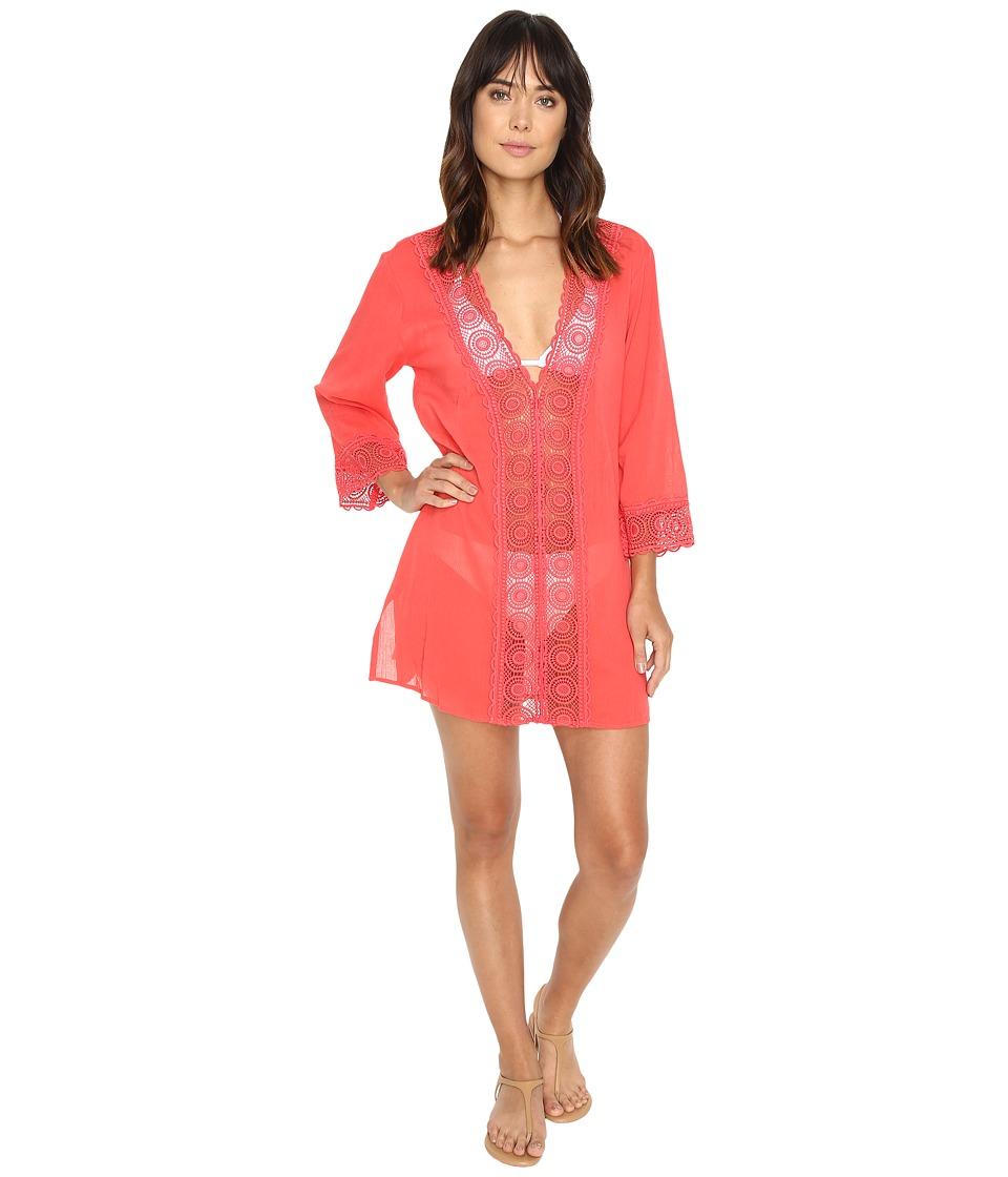 La Blanca - Island Fare V-Neck Tunic Cover-Up (Watermelon) Women's Blouse