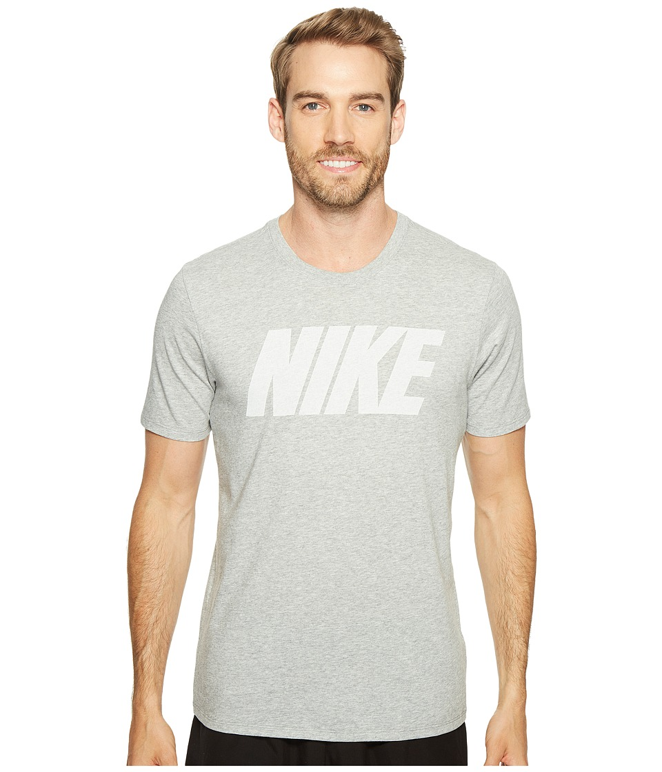 Nike - Dry Block Training T-Shirt (Dark Grey Heather/White) Men's T Shirt
