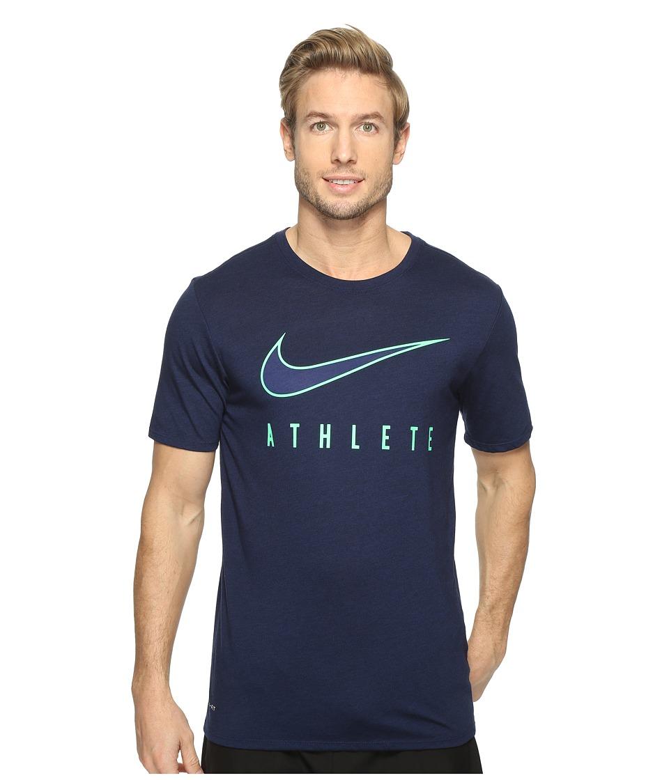 Nike - Dry Athlete Training T-Shirt (Binary Blue/Black/Electro Green) Men's T Shirt