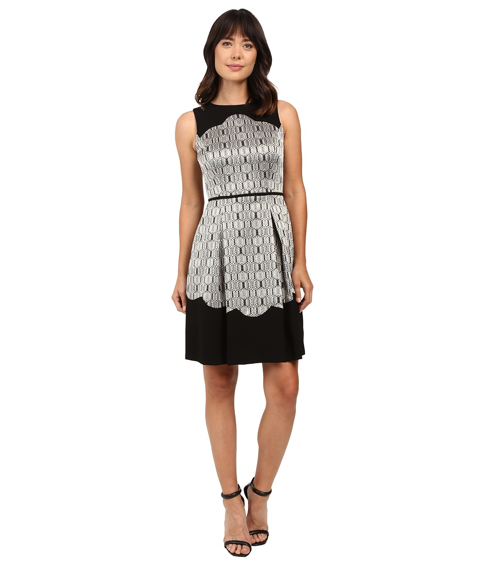 Tahari by ASL - Metallic Sleeveless Fit and Flare with Scallop Detail (Black/Gold/Silver) Women's Dress