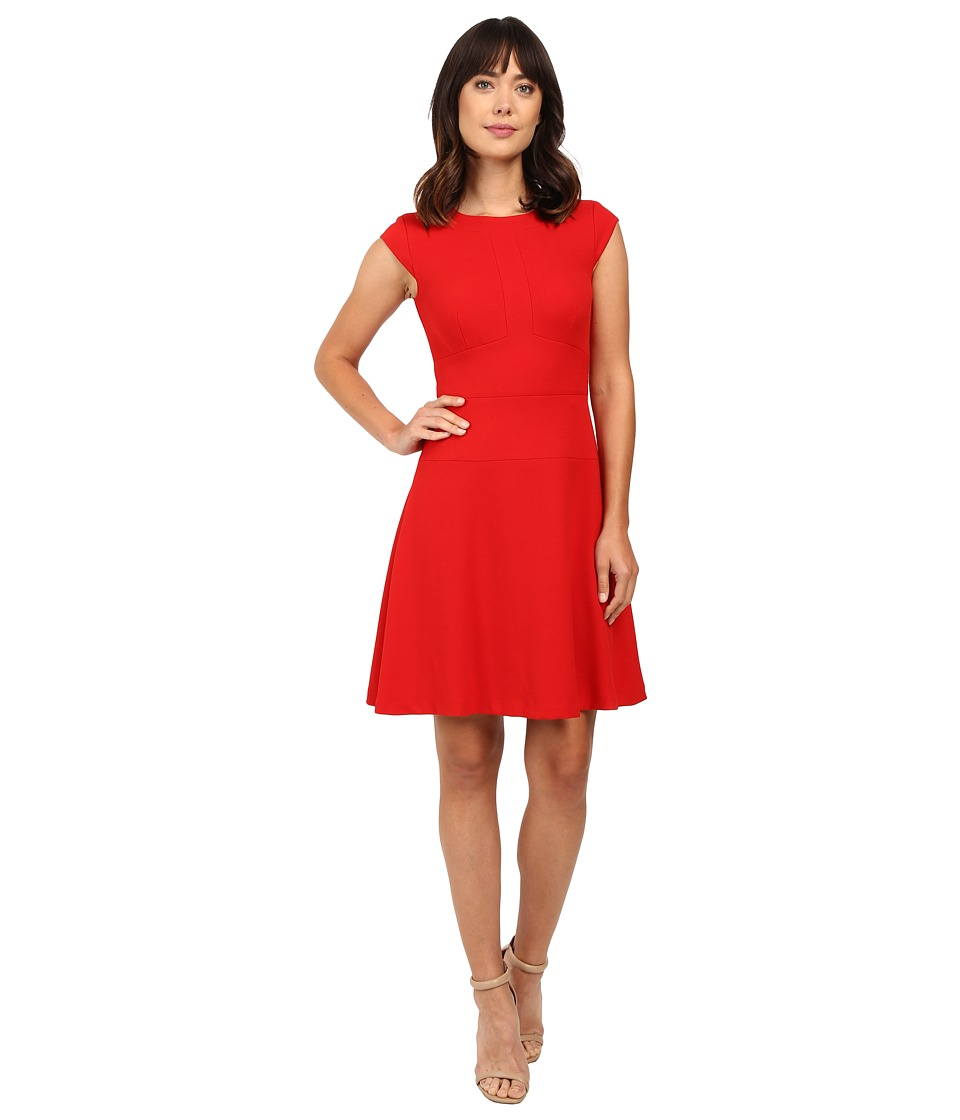 Tahari by ASL - Sleeveless A-Line in Spongey Crepe (Crimson) Women's Dress