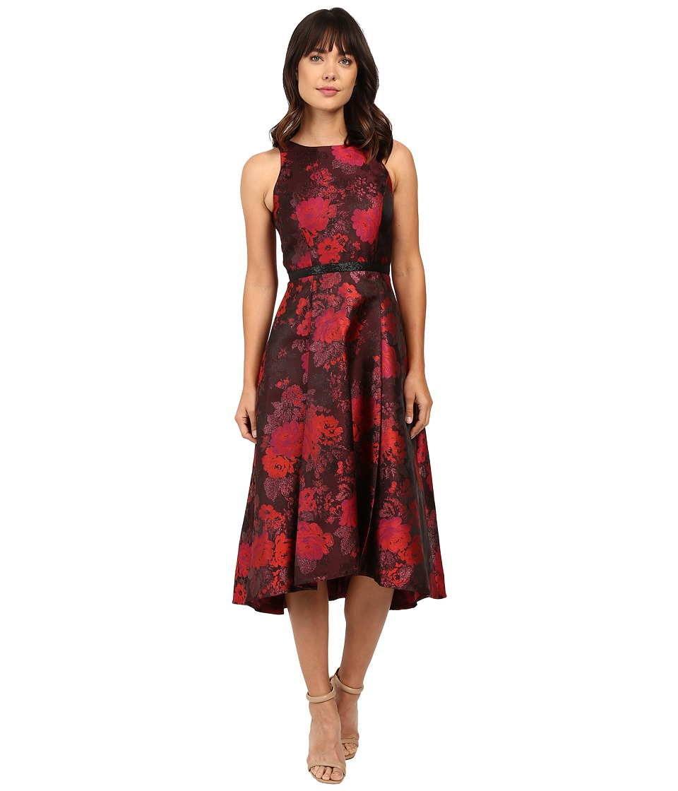 Tahari by ASL - Tea-Length Metallic Jacquard Dress (Crimson/Scarlet/Black) Women's Dress