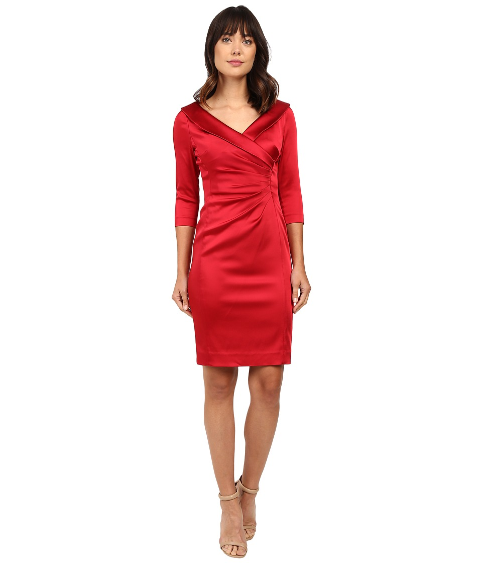 Tahari by ASL - Satin Side Ruche 3/4 Sleeve Sheath (Lipstick) Women's Dress