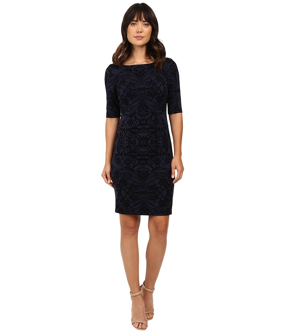 Tahari by ASL - Flocked Scuba Sleeved Sheath (Navy/Black) Women's Dress