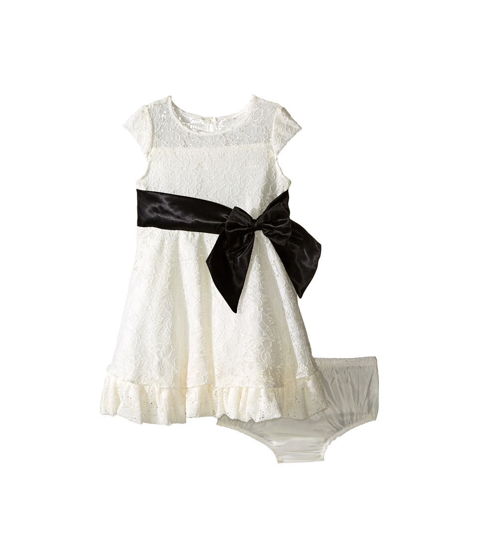 Us Angels - Lace/Taffeta Cap Sleeve Dress with Ruffle Hem (Infant) (Ivory) Girl's Dress