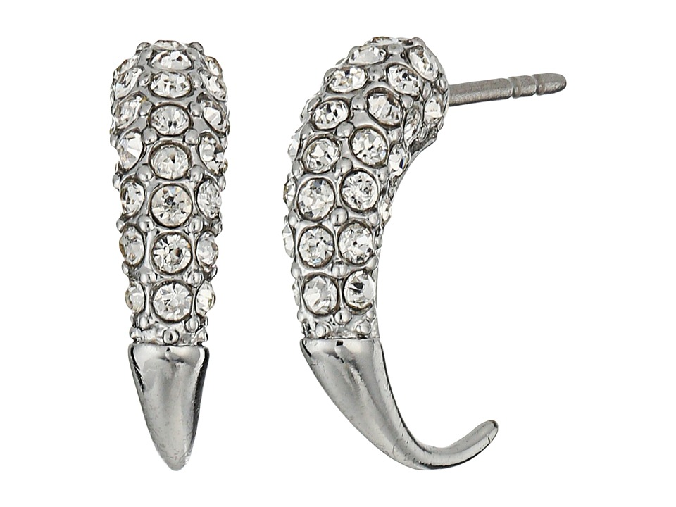 Rebecca Minkoff - Small Pave Hook Earrings (Rhodium/Crystal) Earring