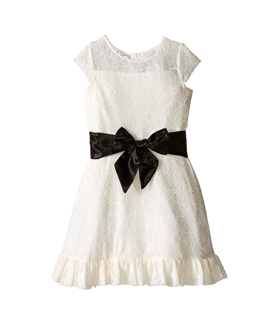 Us Angels - Lace/Taffeta Cap Sleeve Dress with Ruffle Hem (Toddler/Little Kids) (Ivory) Girl's Dress