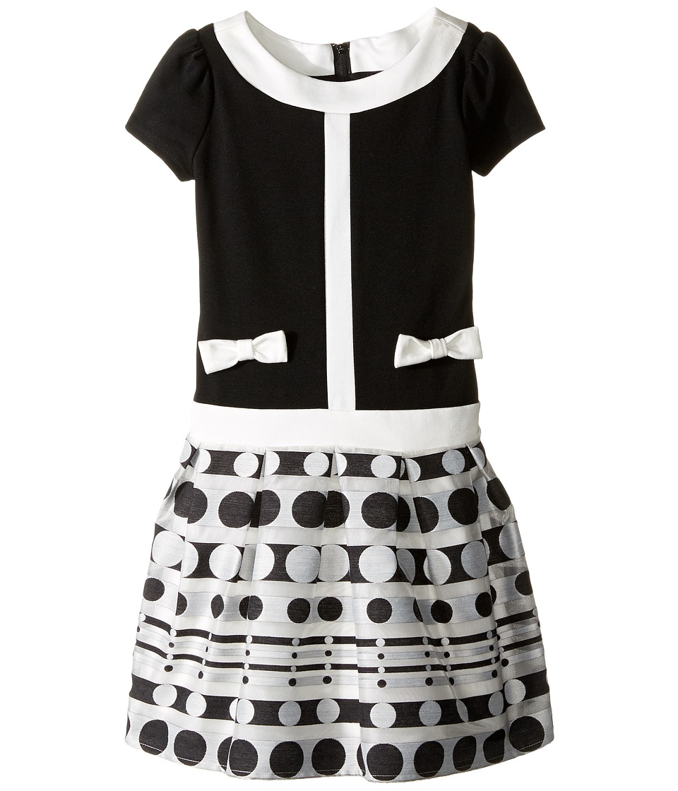 Us Angels - Short Sleeve Ponte Dress w/ Organza Jacquard Hem (Toddler/Little Kids) (Black/Ivory) Girl's Dress