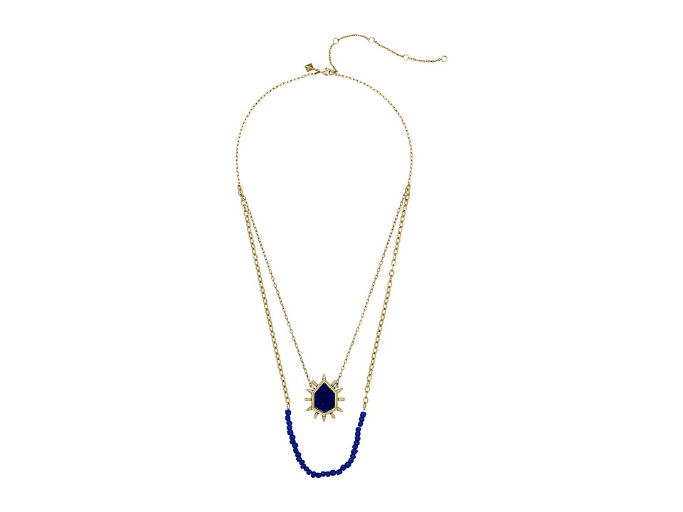 Rebecca Minkoff - Burst Double Row Necklace (Gold/Blue Multi) Necklace