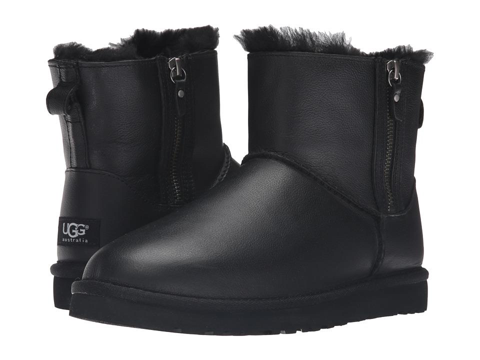 UGG - Classic Mini Double Zip (Black) Women's Boots