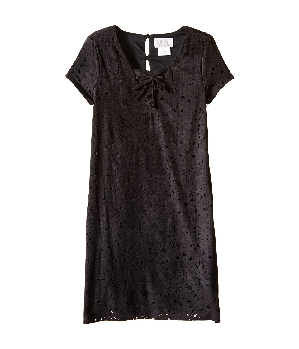 Us Angels - Laser Cut Suede Dress (Big Kids) (Black) Girl's Dress