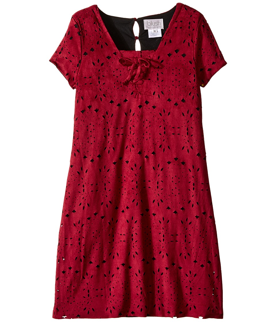 Us Angels - Laser Cut Suede Dress (Big Kids) (Cranberry) Girl's Dress