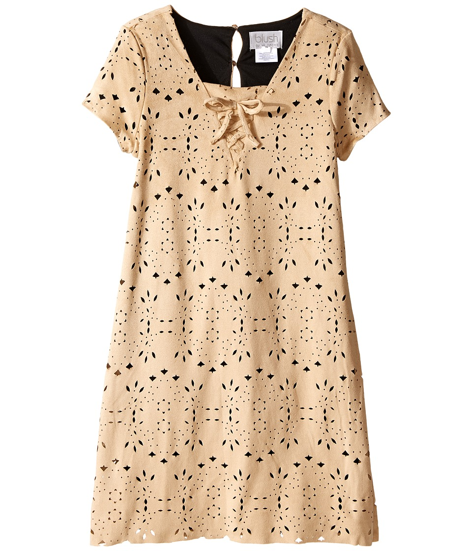 Us Angels - Laser Cut Suede Dress (Big Kids) (Tan) Girl's Dress