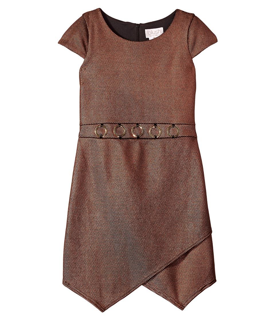 Us Angels Textured Foil Knit Cap Sleeve Dress (Copper) Girl