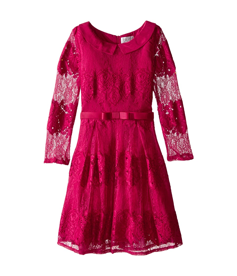 Us Angels - Lace 3/4 Sleeve Peter Pan Collar Dress (Bid Kids) (Fuchsia) Girl's Dress