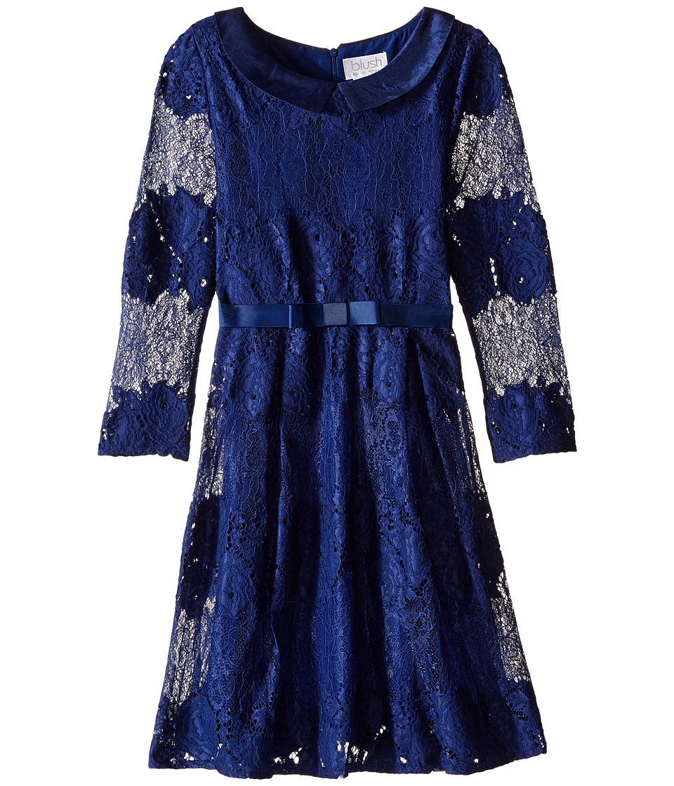 Us Angels - Lace 3/4 Sleeve Peter Pan Collar Dress (Bid Kids) (Navy) Girl's Dress