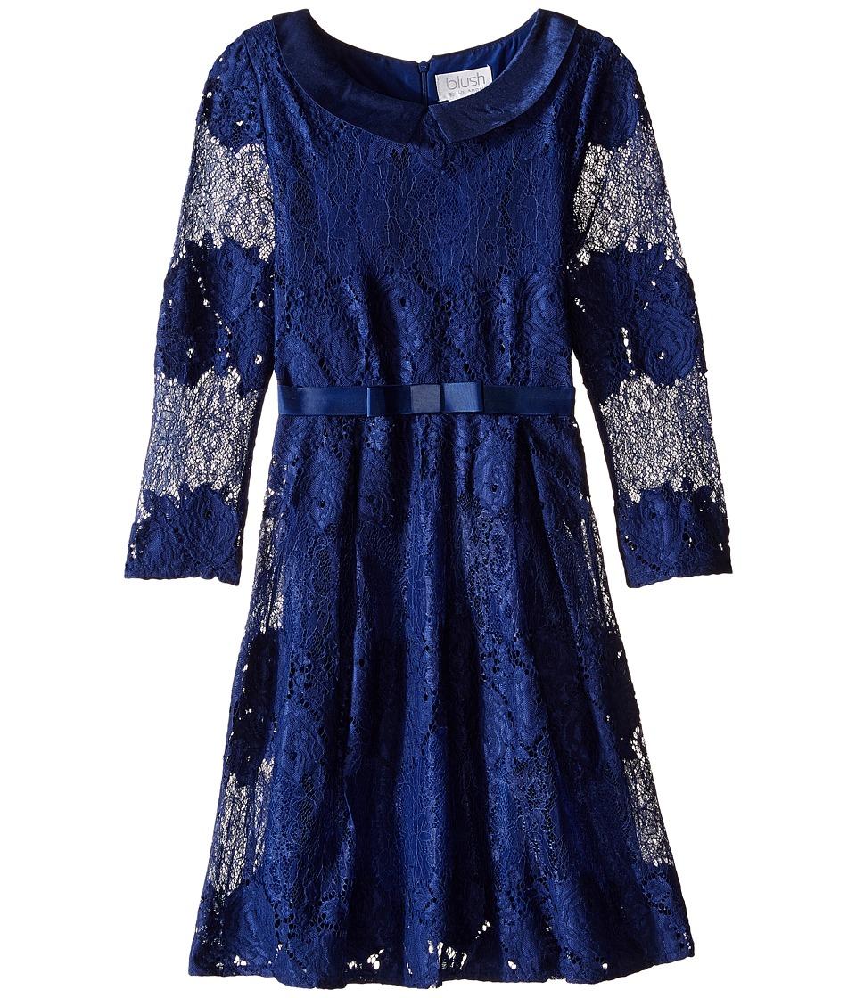 Us Angels - Lace 3/4 Sleeve Peter Pan Collar Dress (Bid Kids) (Navy) Girl's Dress