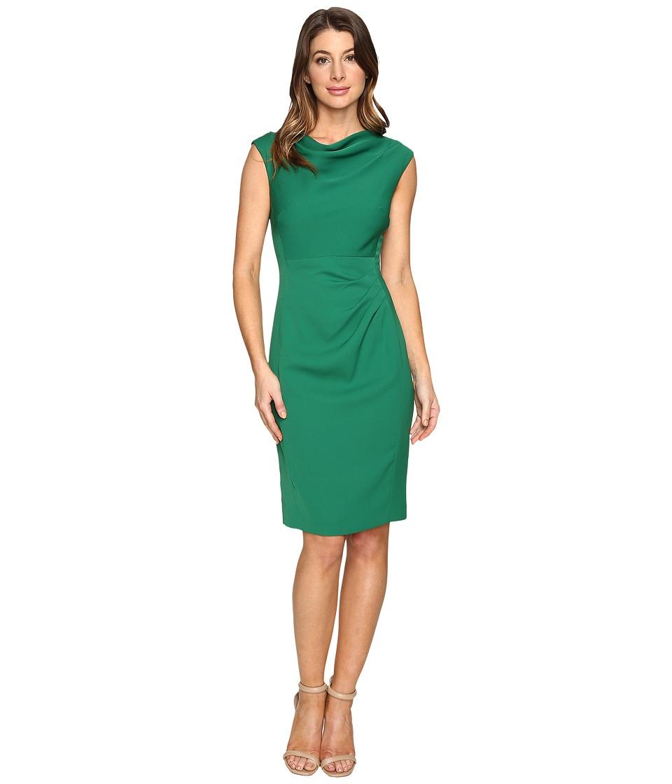 Tahari by ASL - Draped Crepe Sleeveless Sheath (Emerald) Women's Dress