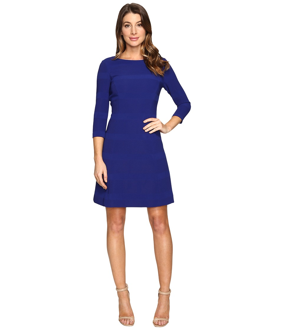 Tahari by ASL - Ribbed Knit 3/4 Sleeve A-Line (Lapis) Women's Dress