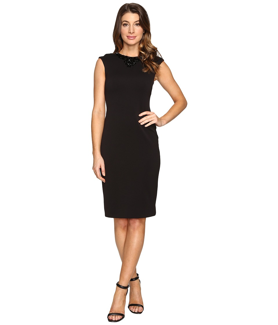 Tahari by ASL - Sleeveless Scuba Sheath with Embellished Neckline (Black) Women's Dress