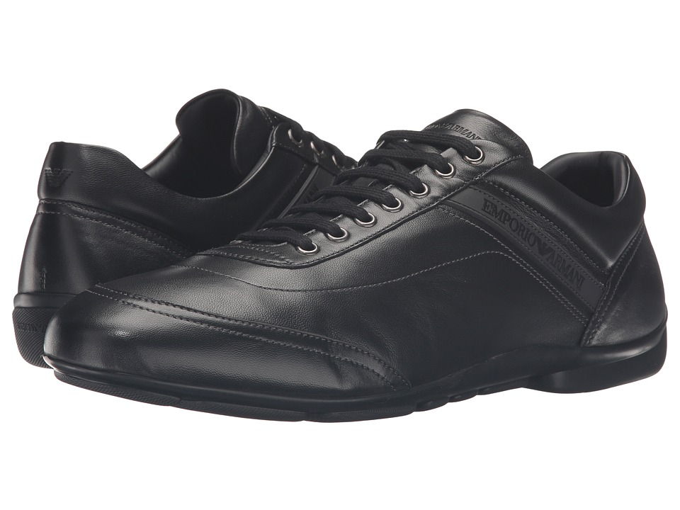 Emporio Armani - Nappa Leather Sneaker (Black) Men's Shoes