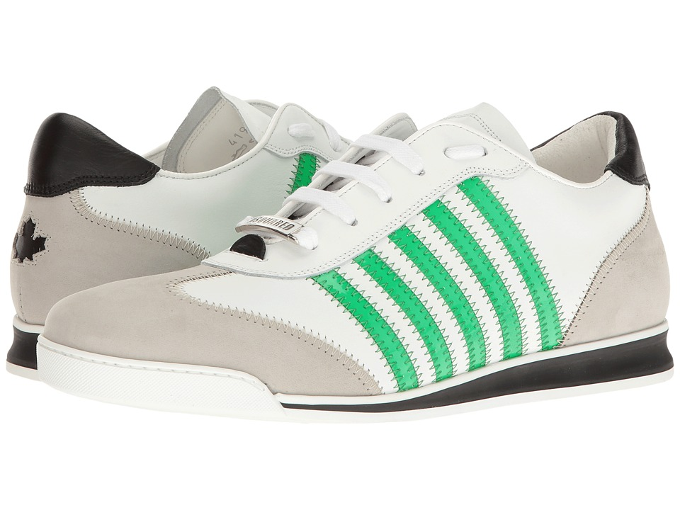 DSQUARED2 - New Runner Sneaker (White/Green) Men's Lace up casual Shoes