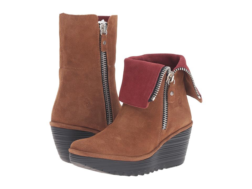 FLY LONDON - Yex668Fly (Camel/Wine Oil Suede) Women's Shoes