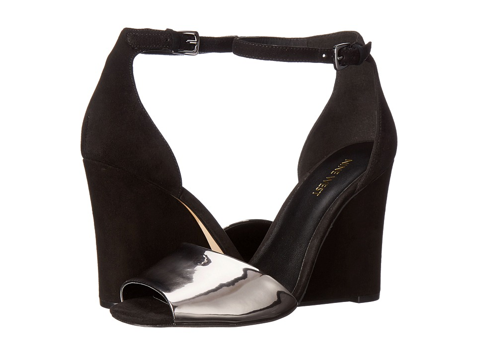 Nine West - Roree (Black/Pewter Suede) Women's Wedge Shoes