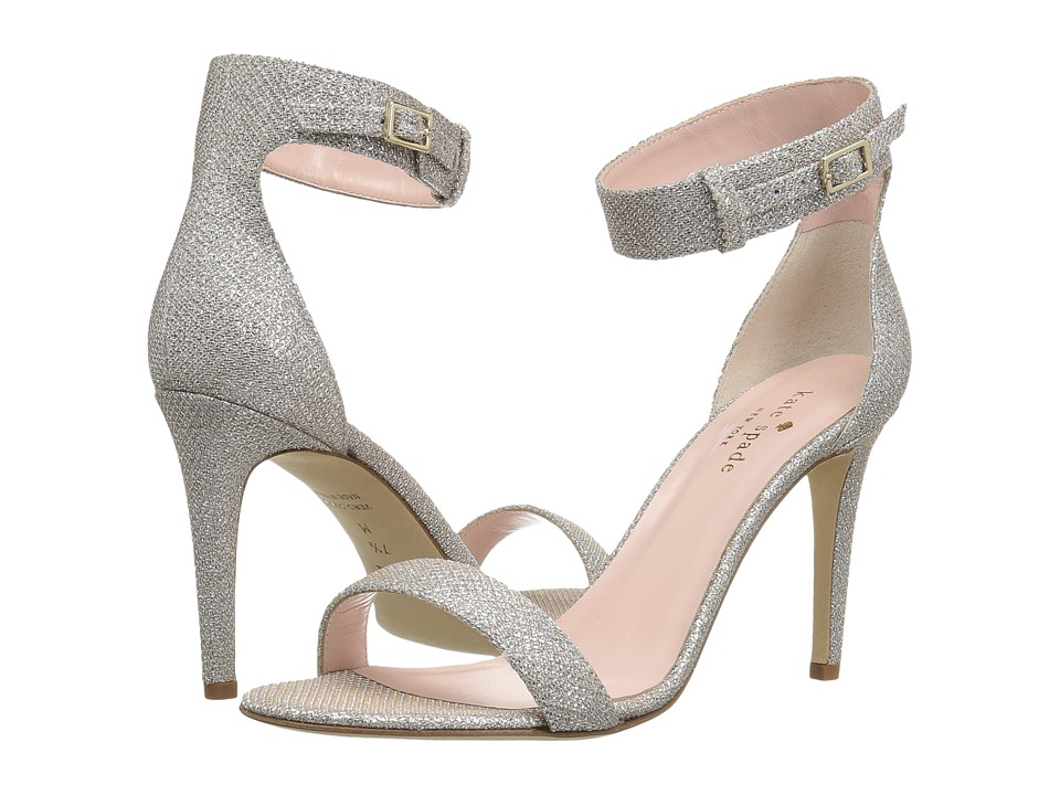 Kate Spade New York - Isa (Silver/Natural Grid Lurex) Women's Toe Open Shoes