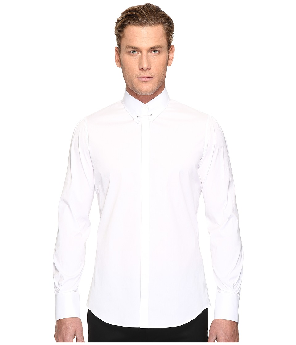 DSQUARED2 - Pin Collar Stretch Poplin Button Up (White) Men's Long Sleeve Button Up