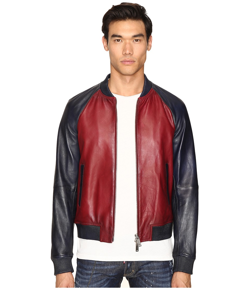 DSQUARED2 - American Road Trip Leather Jacket (Red/Blue) Men's Coat