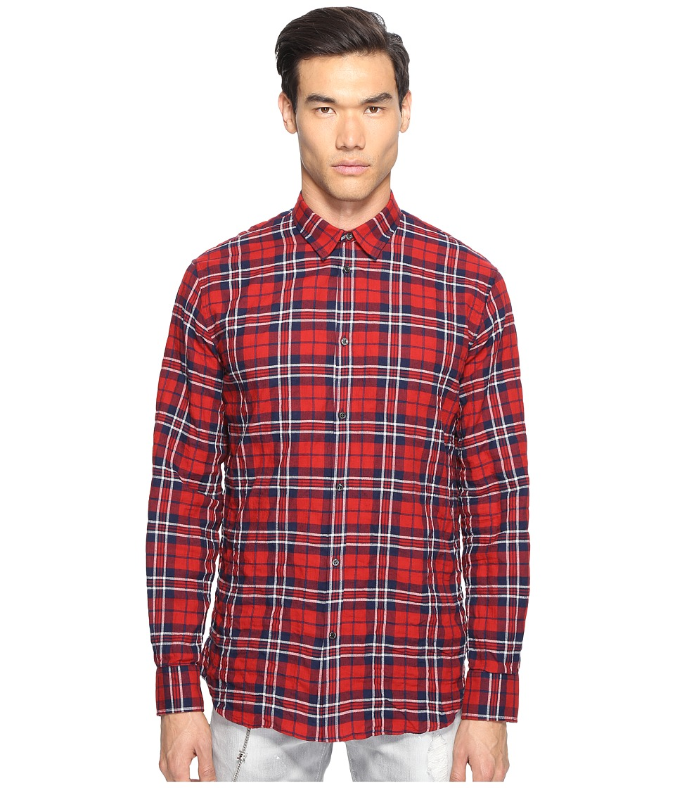 DSQUARED2 - Check Cotton Relaxed Dan Button Up (Red/Blue) Men's Long Sleeve Button Up
