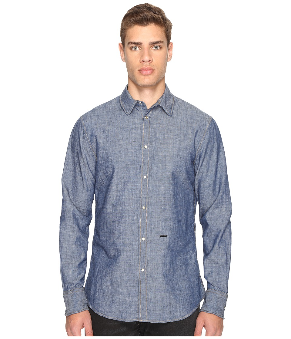DSQUARED2 - Cotton/Linen Metal Wire Collar Shirt (Blue) Men's Long Sleeve Button Up