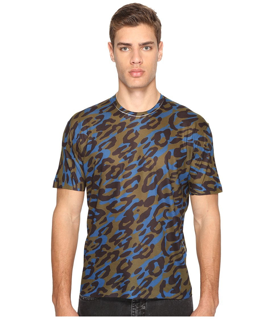 DSQUARED2 - Cheetah Print T-Shirt (Green/Black/Blue) Men's T Shirt