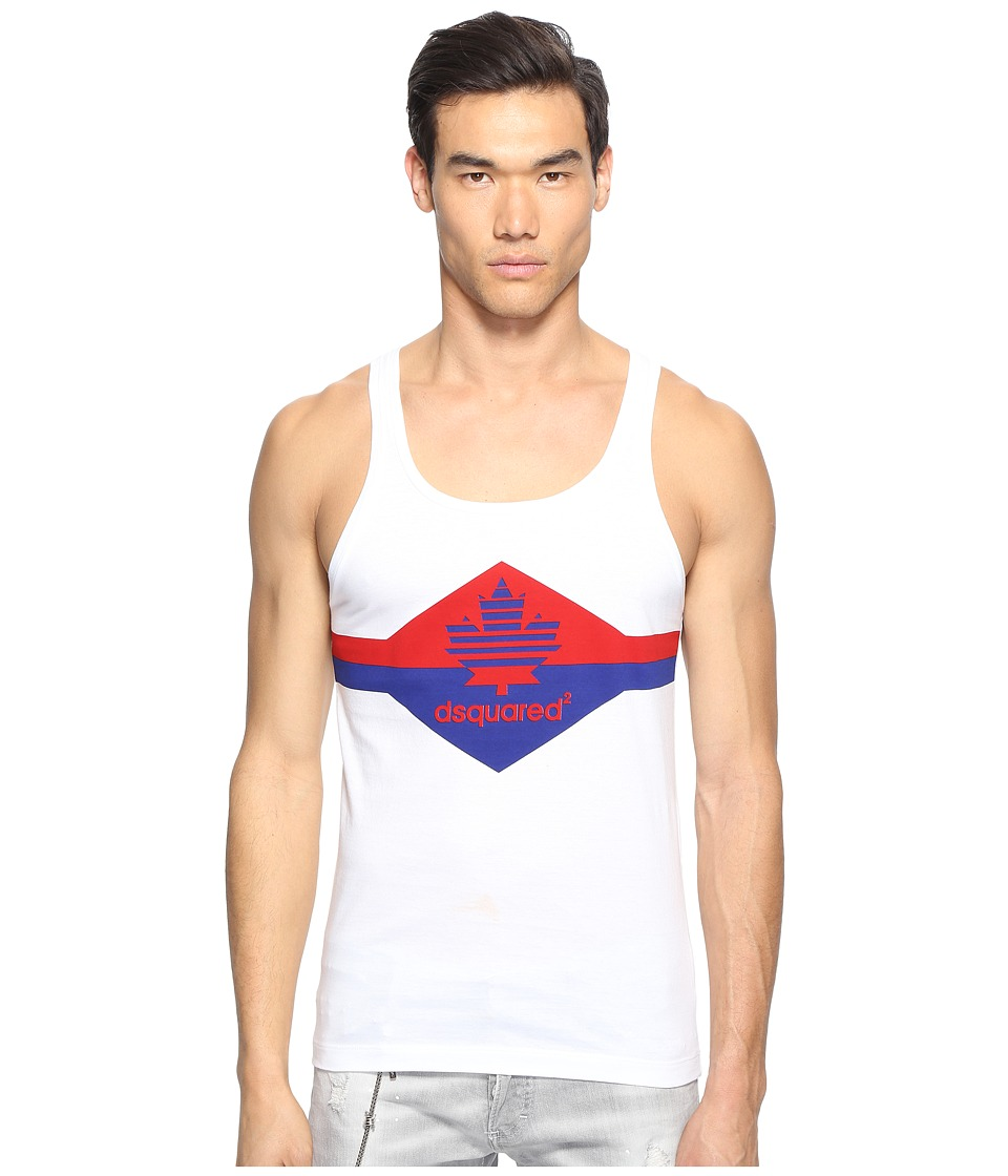 DSQUARED2 - Fruit of D2 Tank Top (White) Men's Sleeveless